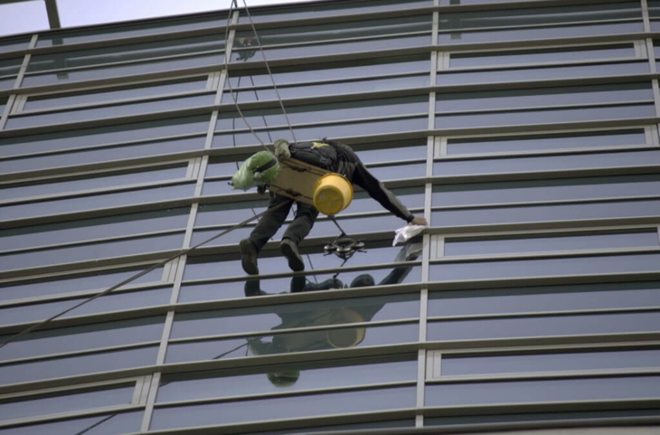 High-rise office external windows being cleaned