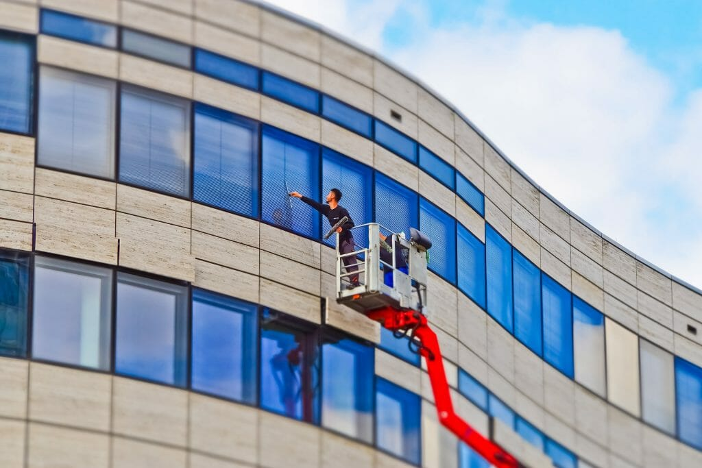 Keeping the office windows spotlessly clean